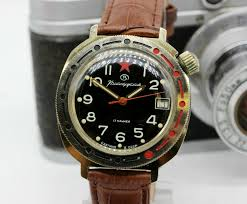 Soviet mechanical watch VOSTOK Komandirskie Military <b>Black</b> KGB ...