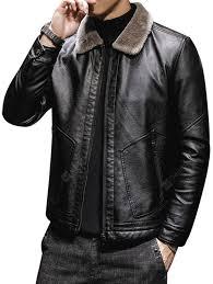 Men PU Zipper Jacket Furry Turn-down Collar Coat Sale, Price ...