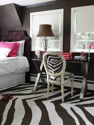darien residence contemporary bedroom brown zebra rug chair may be pottery barn teen dark colors with the pink chic zebra print rug