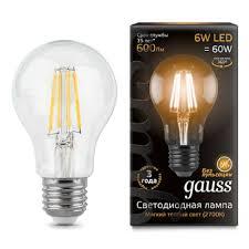 Светодиодная <b>лампа Gauss LED Filament</b> A60 E27 6W 2700К ...