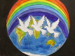 peace poster gallery lions clubs quote the world in my peace poster represents all nationalities the rainbow and doves represent sharing happiness and world peace