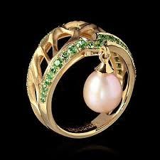 <b>Ring</b> Gothic - Yellow <b>gold</b>, Pearl, Tsavorites | Ювелирные изделия ...