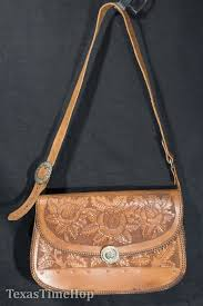 Vintage Tooled Leather Purse 1970's Hand Bag Roses Buckles ...