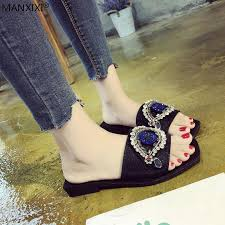 MANXIXI <b>Women Flat slippers</b> string bead crystal bling fashion ...