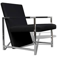 CJ Online Shop <b>Artificial Leather Cube</b> Relax Armchair <b>Black</b> with ...