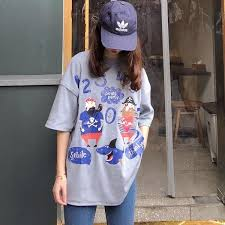 Women cartoon print <b>T Shirt</b> Casual Boyfriend tshirt Harajuku ...