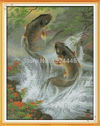 <b>Carp</b> leap animal <b>fish</b> Paintings home Decor Counted Print on ...