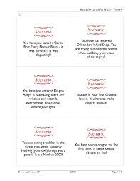 scenario cards for harry potter drama games home page resource thumbnail