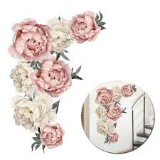 <b>Pdtoweb</b> Pink Peony Flower Blossom Wall Stickers Mural Decal ...