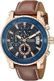 GUESS <b>Men's</b> Stainless Steel Casual <b>Leather</b> Watch