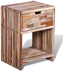 vidaXL <b>Reclaimed</b> Teak Wood <b>Nightstand Drawer</b> Bedroom <b>Bedside</b> ...