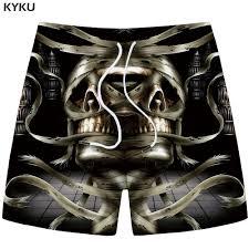 <b>KYKU Skull Shorts Men</b> Black Band Casual Shorts Cargo Cool 3d ...