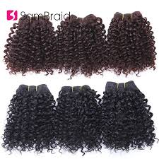 SAMBRAID 3 Bundles <b>Short Afro Kinky Curly</b> Hair Bundles Hair ...