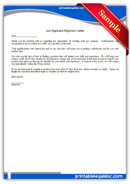rejection letter to job applicants applicant rejection letter job applicant rejection letter form printable