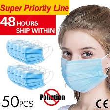 <b>50pcs Anti-Pollution Face</b> Masks Ordinary Nonmedical Disposable 3 ...