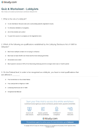 quiz worksheet lobbyists com print what are lobbyists definition history roles worksheet