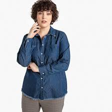 <b>Рубашка джинсовая</b> с длинными рукавами синий потертый ...