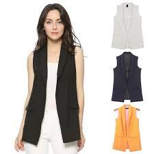 Women Fashion <b>Elegant Office Lady</b> Pocket Coat Sleeveless Vests ...