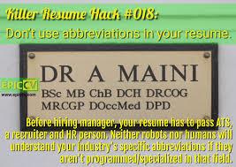 killer resume hacks epic cv killer resume hack 018 don t use abbreviations in your resume