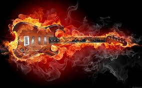 musical instruments on fire