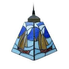 blue mini pendant light stained glass tiffany style sailboat lamp blue pendant lighting