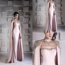 Arabic Mermaid Evening Dresses With Cape Beaded Crystal <b>Satin</b> ...