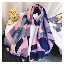 Winter Cashmere Scarf for Women Geometric Print Shawls and ...