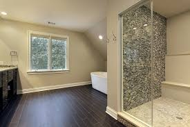 bathroom shower tile design color combinations: large bathroom uses a combination of natural and man made materials