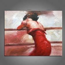 <b>TOP</b> Artist <b>Handpainted High Quality</b> Modern Abstract <b>Sexy</b> red Girl ...