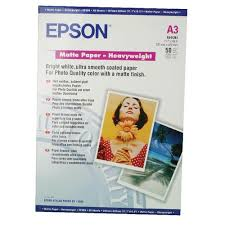 <b>Epson A3 Matte Heavyweight</b> 167gsm Photo <b>Paper</b> (Pack of 50 ...