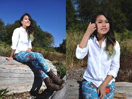 Natalie Ruth Fajardo | LOOKBOOK Natalie Ruth Fajardo - Hollister Button Up Shirt, Tjmaxx Printed Jeans, Steve Madden Military