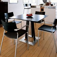 black kitchen dining sets:  cleanly laminate floor with black kitchen chairs around square dining table idea