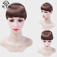 Short Braid Blunt Bangs Natural Tidy Hairpieces Heat Resistant ...