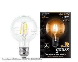 <b>Лампа Gauss LED Filament</b> G95 E27 6W 2700K 105802106 ...