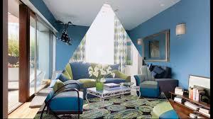 blue sofas living room: modern living room with blue sofa