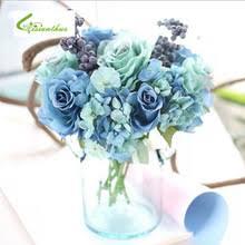 Очаровательный 1 букет, искусственные синие <b>розы</b>, <b>цветы</b> для ...