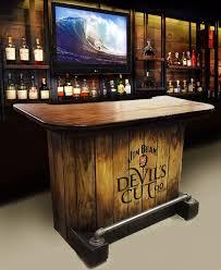 sold wood jim beam devils cut whiskey home bar rustic pub man cave barrel authentic jim beam whiskey barrel table