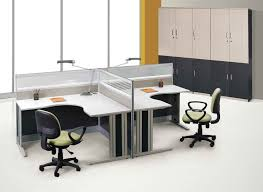 white gray solid wood office desk with acrylic wall divider combined with contemporary reading lamp and black shaped office desks