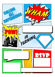 superhero comic book party invitation printable superhero invitation pdf printable