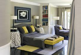 yellow and gray bedroom: stylish interior yellow and gray bedroom with bed and bench