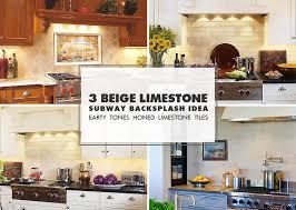 limestone tiles kitchen:  beige limestone subway kitchen backsplash idea