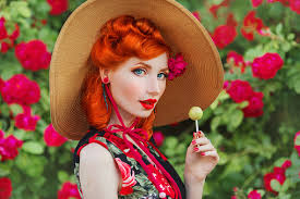 Retro <b>Girl</b> With Red Lips In A Dress With A Print Of <b>Roses</b> With ...