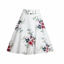 <b>Women's Summer</b> Skirts High Waist Vintage <b>Elegant A-Line</b> Midi ...