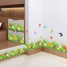 <b>Flower Green Grass</b> Butterfly <b>Baseboard</b> Wall Stickers <b>Skirting</b> ...