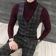 2019 LEFT ROM Tweed <b>Suit Men</b> Plaid Blazer <b>S 4XL 5XL</b> Khaki ...