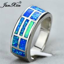 Мужское и женское <b>кольцо</b> JUNXIN, <b>кольцо</b> с синим огненным ...