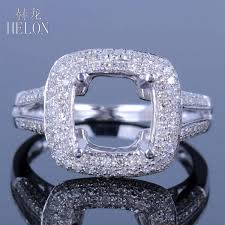 <b>HELON</b> Cushion Cut 8x8mm Semi Mount Engagement Ring <b>Real</b> ...