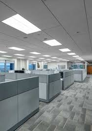 open plan office with rockfon sonar 2 by 8 foot panels installed in ceiling office