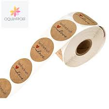 <b>1 Inch Round Natural</b> Kraft Handmade with Love Stickers/500 labels ...