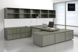 appealing grey office furniture l shape gray wooden desk with brown wooden storage also beautiful cool office furniture